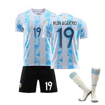 Kun Aguero #19 Jersey Home Argentina National Soccer Teams Fotboll T-Shirts Jersey Set för barnungdomar