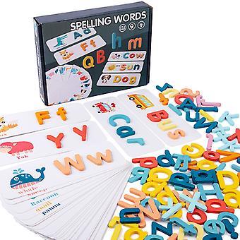Nová drevená slovná hra Stavebná blokuje deti rané vzdelávanie Puzzle anglický kartový list zodpovedajúci poznávací hračka