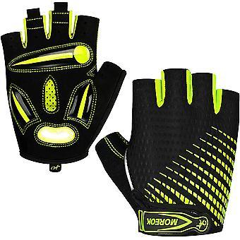 Non-slip, Shock-absorbing Touch Screen With Liquid Gel Liner Half-finger Mountain Bike Gloves-fluorescent Green