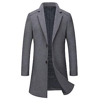 مايل الرجال واحد الصدر معطف طويل الشتاء الصوف السترات