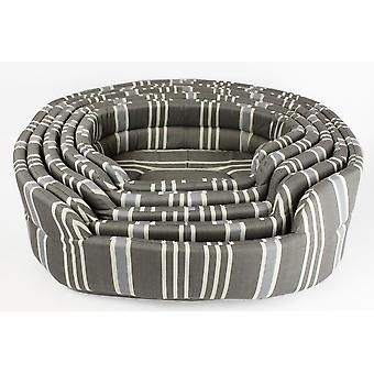 SET OF 5 GREY STRIPE PET BASKET BED COTTON SPONGE