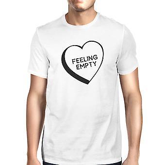 Gevoel leeg hart wit korte mouw ronde hals T-Shirt voor mannen
