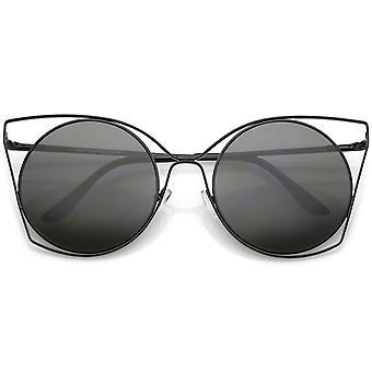 Oversize öppen metall Cat Eye solglasögon med Ultra platt objektiv smal armar 51mm