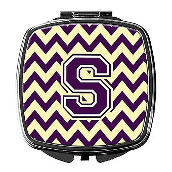 Carolines Treasures  CJ1058-SSCM Letter S Chevron Purple and Gold Compact Mirror