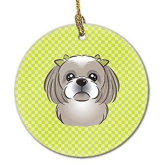 Checkerboard Lime Green Gray Silver Shih Tzu Ceramic Ornament