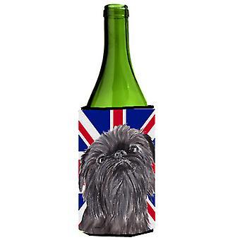 Griffoncino di Bruxelles con Engish Union Jack bandiera britannica bottiglia di vino bevanda Insula