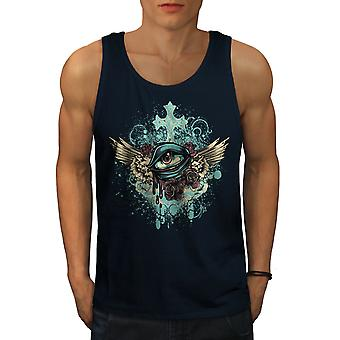 Eye Art Cross Fashion Men NavyTank Top | Wellcoda