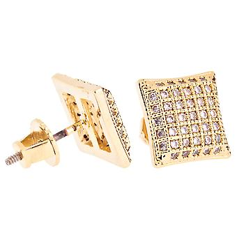 Iced Out Bling Micro Pave Ohrstecker - PAD 10mm gold