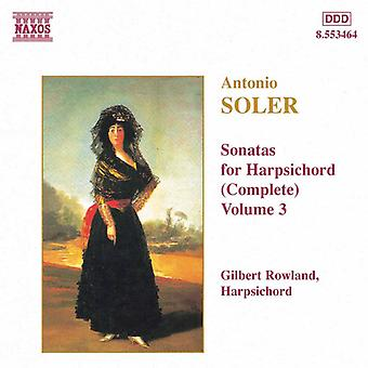 A. Soler - Soler: Sonatas for Harpsichord (Complete), Vol. 3 [CD] USA import