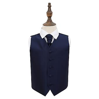 Navy Blue Solid Check Wedding Waistcoat & Cravat Set for Boys
