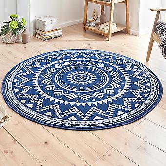Alfombra de velour diseño Crema Valencia azul redondo