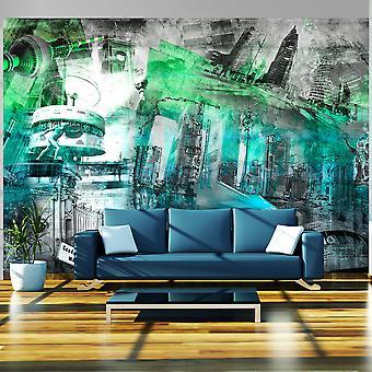Fotobehang - Berlijn - collage (groen)