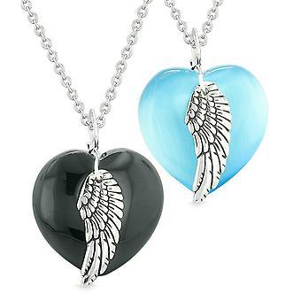 Amuletter engel fløyen hjerter elsker par eller beste venner Agate blå simulert katter øye halskjeder