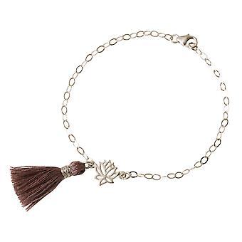 Gemshine Damen Armband 925 Silber Lotus Blume Quaste Rose YOGA 4 cm