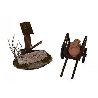 Stable Nativity set 2 PCs Nativity accessories. Morning country donkey carts fountain
