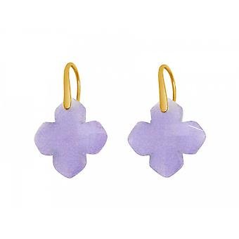 Ladies earrings 925 Silver gold plated chalcedony Lavender Purple GEM 2.5 cm