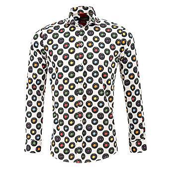 Guia Londres discos de cetim de algodão branco imprimir Mens camisa