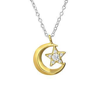 Mond und Stern - 925 Sterling Silber jeweled Halsketten - W37632x