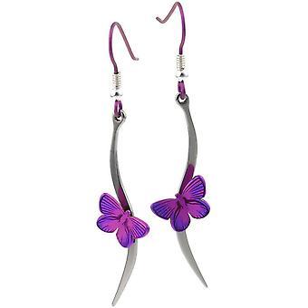Ti2 Titanium Woodland Butterfly Stem Drop Earrings - Pink