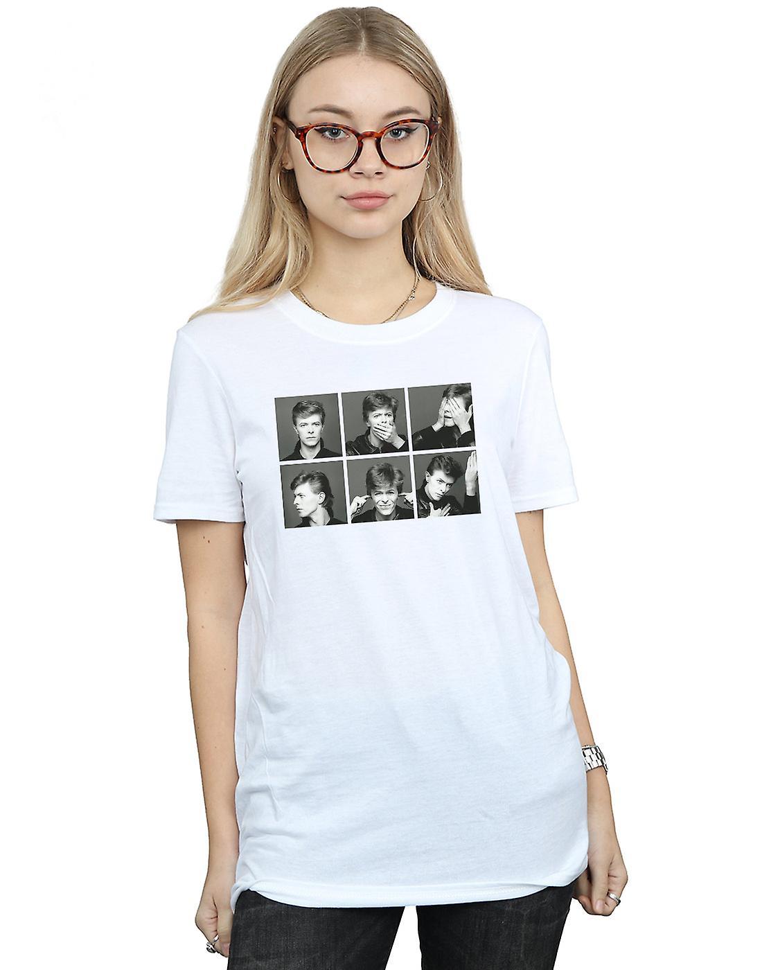 David Bowie Women's Photo Collage Boyfriend Fit T-Shirt