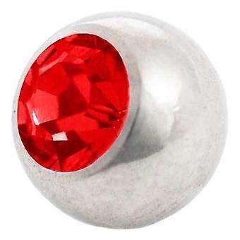 Piercing ersättare boll, kropp smycken, sten röd | 1,6 x 4, 5 och 6 mm