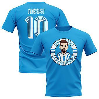 Lionel Messi Argentina Illustration T-Shirt (Sky)