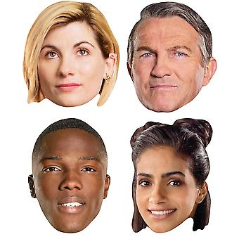 13th Doctor Who Official Variety 4 Pack 2D Card Party Fancy Dress Masks