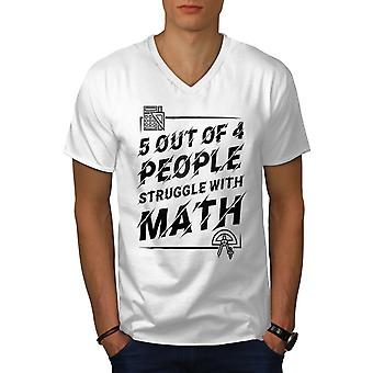 Mathematik Struggle Men WhiteV-Neck T-Shirt | Wellcoda