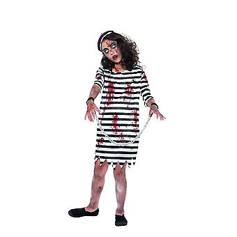 Zombie Convict Girl, Halloween Child Fancy Dress, Large Age 10-12