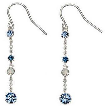 Delar Silver Swarovski Design långa örhängen - blå/Silver