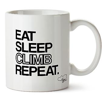 Hippowarehouse spise søvn klatre gjenta trykte krus Cup keramiske 10 Unzen