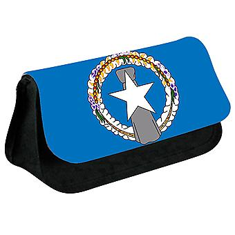 Northern Mariana Islands Flag Printed Design Pencil Case for Stationary/Cosmetic - 0227 (Black) by i-Tronixs