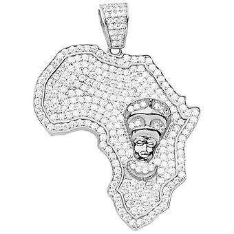 Premium Bling 925 Sterling Silver Africa Pendant