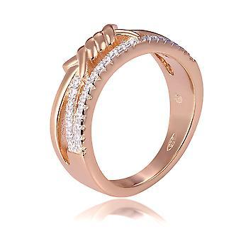 Orphelia Silber 925 Ring Rose mit twisted Line und Zirkonium ZR-7421