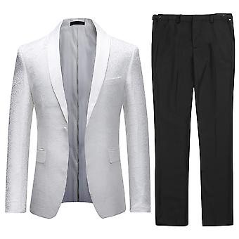 Allthemen Men's Wedding Suits Jacquard 2-Pieces Suit Jacket&Pants