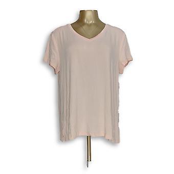 H par Halston Women-apos;s Top Essentials V-Neck Forward Pink A306231