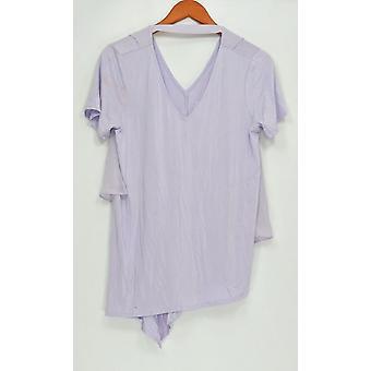 Lisa Rinna coleção mulheres ' s Top V-Neck w/chiffon voltar Purple A303168