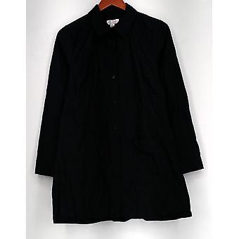 Denim & Co. bovenste knop front grote shirt Pocket zwart nieuwe A274922