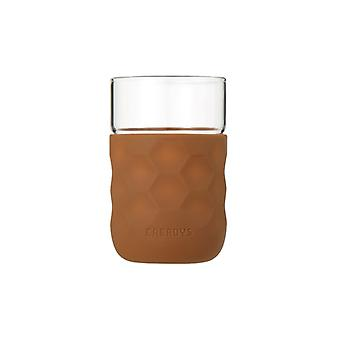 Honeycomb Anti-skid Glass with Silicone Sleeve 250ml in Brown