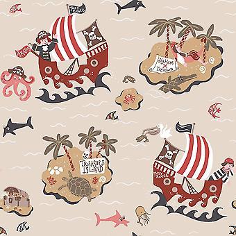 Boys Beige Pirates Wallpaper Skulls Treasure Island Maps Fish Nautical Galerie