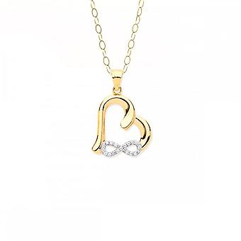 Eternity 9ct Heart With Cubic Zirconia Infinity Pendant And 16-apos;