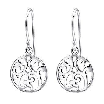 Round - 925 Sterling Silver Plain Earrings - W27054X