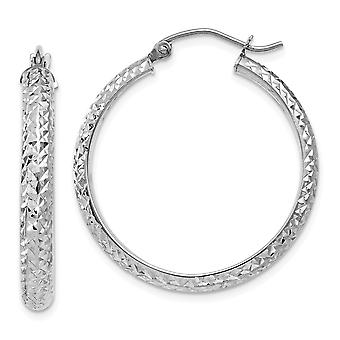 14k White Gold Hinged post Sparkle Cut 3.5x28mm Hollow Hoop Earrings Jewelry Gifts for Women