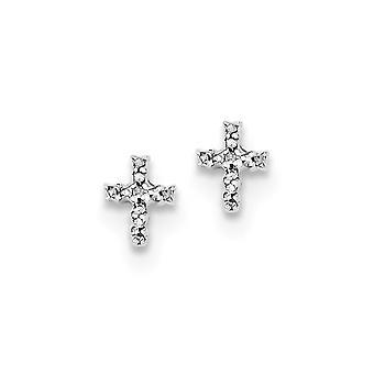 925 Sterling Gümüş Cilalı Rodyum kaplama Rodyum Elmas Dini İnanç Cross Post Küpe Takı Hediyeler Kadınlar için
