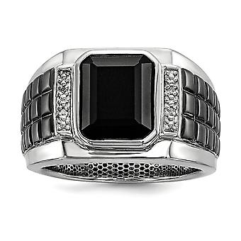 925 Sterling Silver Bezel Polished Prong set Diamond and Simulated Onyx Square Black Rhodium plated Mens Ring Jewelry Gi