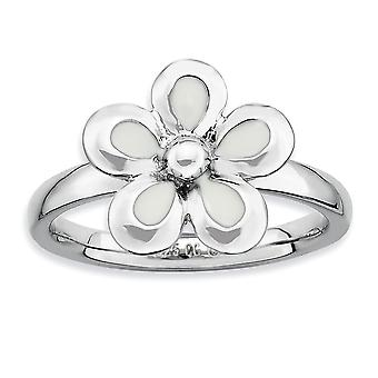 925 Sterling Silber Rhodium vergoldet stapelbare Ausdrücke poliert weiß emailliert Blume Ring Schmuck Geschenke für Frauen - R