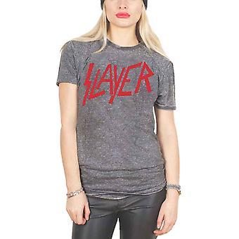 Slayer T Shirt Classic Distressed Band Logo Official Unisex slim fit Burnout