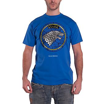 Game Of Thrones Stained Glass House Stark Officiel HommeS New Blue T Shirt