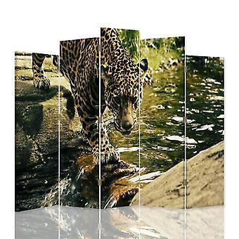 Dekorativa rumsavdelare, 5 paneler, dubbelsidig, vridbar 360?? Canvas, Ocelot vatten