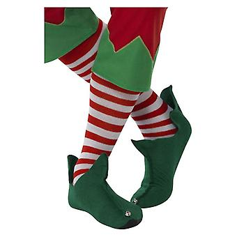 Adultes Rouge - White Long Striped Socks Christmas Fancy Dress Accessory